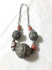 Antique Yemeni silver Bedouin Jewish Handmade necklace with coral beads