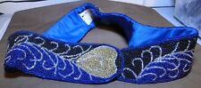 Belt - Adjustable - Paolo Vico - Beaded with Hearts Black Blue Silver Branch - 1