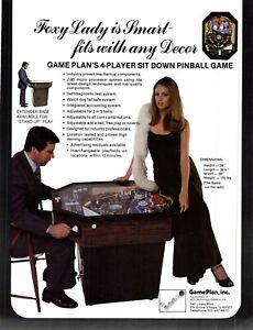 Gameplan Pinball Foxy Lady Vintage Advertising Sales Flyer 1970s 021219AME