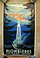 Vintage Original 1939 FRANCE Travel Poster Train airline Art Deco tourism Europe