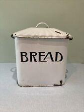 More details for antique vintage enamel bread bin with rare fluted lid