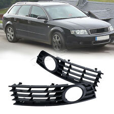 2pcs Front Bumper Grill Grille + Fog Lights Sports Mesh For Audi A4 B6 2002-2005