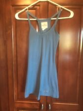 Holister Women's Juniors Racer Back Fitted Tank Top XS $4 Blue Laced Edge