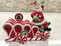 """Vintage Fitz and Floyd Peppermint Santa Lidded Dish Parade Sleigh 2008 """"Retired"""""""
