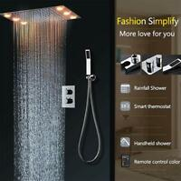 """Polished 15/""""x28/"""" Rectangle Ceiling Rainfall Multi Function Shower Head System"""