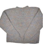 Vintage Hand Knit Wool Sweater Womens L Heavy Knit Pullover Mock Neck vtg