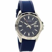 Bulova 96B298 Mens Blue Stainless Rubber Watch
