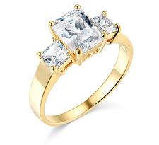 2.75 Ct Emerald Princess Cut Engagement Ring 3 Three Stone Solid 14K Yellow Gold