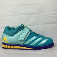 Adidas Powerlift 3.1 Womens BY8890 Aqua Purple Yellow Weightlifting Shoes Sz 8.5
