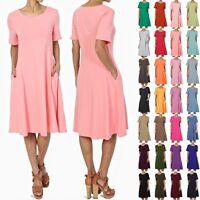 TheMogan S~3X Womens Short Sleeve Stretch Cotton Pocket A-line Fit & Flare Dress