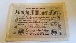 GERMAN 50 MILLION MARK BANKNOTE  1923