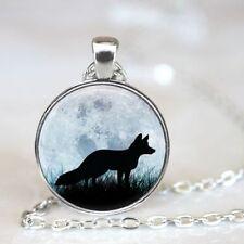New fox Cabochon Tibetan silver Glass Chain Pendant Necklace Jewelry