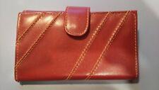 Original Vintage Ladies Wallet Red Clay Color Diagonal Accent Multi-Purpose