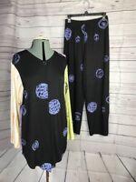JG's MAD LAB Art to Wear Sz Small Tunic Jacket Blouse & Palazzo Pants Lagenlook