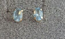 JCM 10K Yellow Gold Post Stud Earrings Genuine Faceted Oval Blue Topaz Stones!