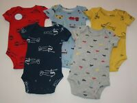 New Carter's Boys 5 Pack Bodysuits Tops Planes Cars Fire Truck NB 3 9 12 18 24m