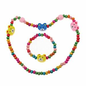 Toddler/Kid Wooden Necklace + Bracelet Set Butterfly, Kitten, Bear, Bunny