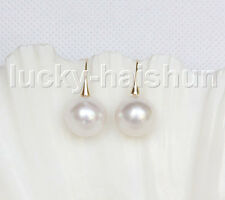 NEW AAA 13mm perfect round white South Sea pearls Earrings 14K Solid gold j11593