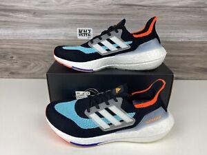 Men's Adidas Ultraboost 21 Black White Aqua   size 11.5   S23867 NEW WITH BOX