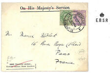 EE104 1912 INDIA KEVII *East Bengal State RaiIway* OHMS Crown Embossed Cover