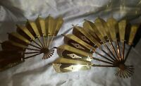 Vintage Brass Fan Wall Hanging Decor Asian Decoration Gold Set/2 Etched
