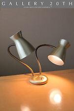 MID CENTURY MODERN DOUBLE SHADE DESK LAMP! Atomic Vtg Gooseneck Eames 50's 60's