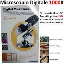 MICROSCOPIO DIGITALE PC USB 1000X OTTICO PER BOTANICA PALEONTOLOGIA ENTOMOLOGIA
