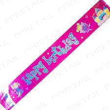 EXTRA LONG GIRLS HAPPY BIRTHDAY BANNER 2.5m/8ft Pink Princess Fairy Design