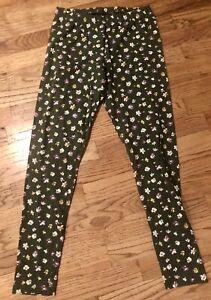 Old Navy Girls Green Floral Leggings - Size Medium - EUC