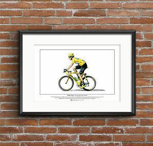 Bradley Wiggins - Tour de France winner - Ltd Edition Fine Art Print A3 size