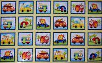 "Studie E Fabrics Jungle Camp panel animals camper  24"" x 44"" 100% cotton"