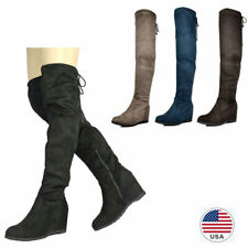 Women's Over The Knee Boots Faux Suede Leather Wedge Heel Thigh High Boots