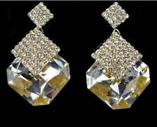 Stunning Large Crystal Square Earrings - White