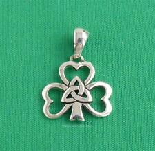 Irish Shamrock Pendant Celtic Triquetra 925 Sterling Silver Sea Gems Jewellery