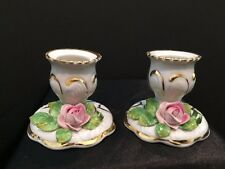 Vintage Dresden Porcelain Candle Holders (pair) with applied flowers