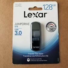 Lexar JumpDrive S75 128GB USB 3.0 Secure Drive LJDS75-128ABN NEW/SEALED