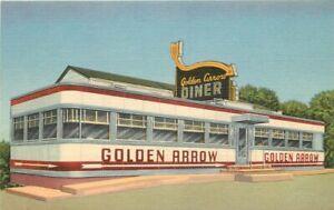 1940s Langhorne Pennsylvania Golden Arrow Diner Linen Advertising Postcard