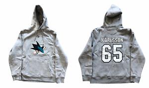 San Jose Sharks Hoodie Men's NHL Fanatics Karlsson 65 Hoodie - Grey - New
