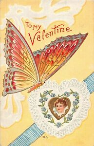 H66/ Valentine's Day Love Holiday Postcard c1910 Butterfly Gold-Lined 22