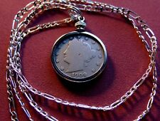 """Antique 1909 Liberty Victory Nickel on a 26"""" 925 Sterling Silver Chain"""