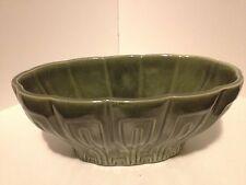 Vintage Haeger Pottery Flower Pot Planter No. 17 Dark Olive Green Glaze