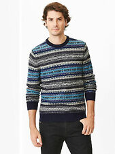NWT Gap Lambswool Reverse Fair Isle Sweater Color Blue Size XL