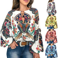 Womens Plus Size Lantern Sleeve Hippie Shirt Boho Floral Loose Blouse Baggy Tops