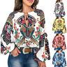 Women Boho Floral V-Neck Long Lantern Sleeve Oversized Blouse T Shirt Tops S-3XL