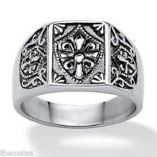 TEMPLAR KNIGHT  MASONIC BLACK SILVER STAINLESS STEEL RING SIZE 9 10 11 12 13