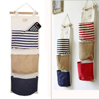 Navy Wall Hanging Storage Bag Vintage Jute Sundries Home Closet Organizer Pouch