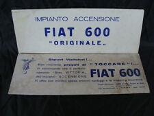 CARTELLI FIAT 600 IMPIANTO ACCENSIONE BREVETTO VITTORIA TORINO INSEGNA SIGN OLD