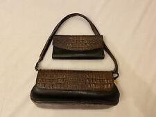 B28 Brahmin Brown Black Crocodile Purse And Wallet Set