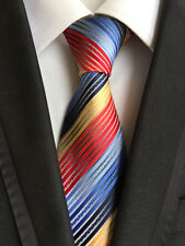 New Classic Striped Red Blue Yellow JACQUARD WOVEN 100% Silk Men's Tie Necktie