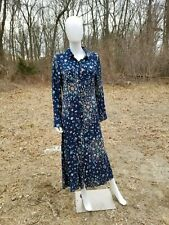 American rag boho prairie maxi floral blue rayon dress L new